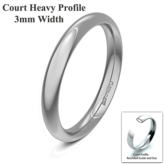 Xzara Jewellery - Palladium 950 3mm Heavy Court Profile Hallmarked Ladies/Gents 2.7 Grams Wedding Ring Band