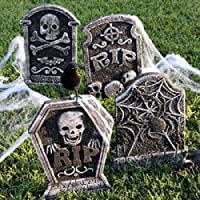 Set of 4 Polyfoam Tombstones Halloween Yard Decorations from GreenBrier