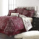 Spirit Linen Hotel 5Th Ave 6-Piece Foliage Collection Plush Reversible Comforter Set, King, Burgundy/Ivory