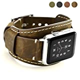 Coobes Compatible with Apple Watch Band 44mm 42mm Men Women Genuine Leather Compatible iWatch Bracelet Wristband Strap Compatible Apple Watch Series 4/3/2/1 (Crazy Horse Cuff Coffe, 44/42 mm) (Color: Crazy Horse Cuff Coffe, Tamaño: 44/42 mm)