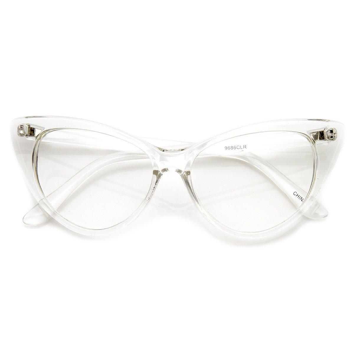 zeroUV- Super Cat Eye Glasses Vintage Inspired Mod Fashion Clear Lens Eyewear