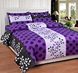Soni Traders Purple Designer Pure Cotton Double Bedsheet With Pillow Cover- Bedsheet- 90 Inches X 90 Inches; Pillow Cover- 16 Inches X 27 Inches