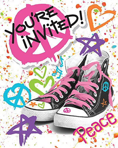 Creative Converting 8 Count Totally 80's Party Invitation with Attachment, Multicolor