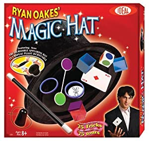 POOF-Slinky 0C2719BL Ideal Ryan Oakes 75-Trick Collapsible Magic Hat Set with Magic Wand and Secrets of Amazing Magic Tricks 35-Page Booklet Children, Kids, Game