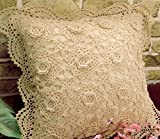 KAMAY'S® Hand Made Handcraft Crochet Round Cotton Lace Pillowcase Pillow Slip Cover