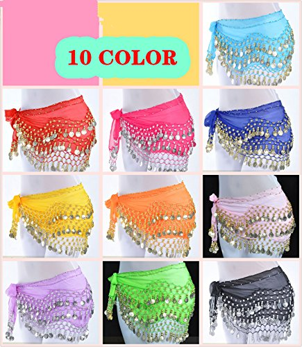 Dance Fairy 10pcs 128 Gold/silver coins Chiffon belly dance hip scarf
