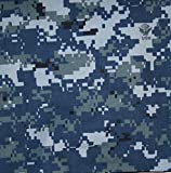"US Navy NWU Digital Blue Nyco Twill 65"" Camouflage Fabric By the Yard"