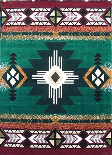 Southwest Native American Area Rug Design C318 Hunter Green (3 Feet X 4 Feet 8 Inch)