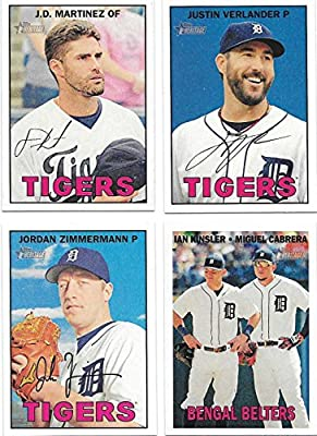 Detroit Tigers 2016 Topps Heritage Series 15 Card Basic Team Set with Justin Verlander Miguel Cabrera Plus