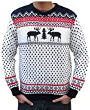 London Knitwear Gallery Christmas Reindeer Fairisle Jumper Retro Size XS White