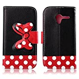 Fashion Youth Series Cute Design Black Red Bow Bowknot Polka Dot Wallet Flip Case Folio PU Leather Stand Cover with Card Slots for Motorola Moto X XT1058 + Free Lovely Gift