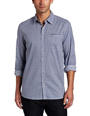 (很好)Kenneth Cole Men's Geo Print Shirt肯尼斯科尔纯棉衬衣 $18.18