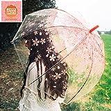 inniLove 超軽量 透明な桜柄傘 レース傘 英国風傘 萌える可愛い傘,UV紫外線カット、質の良いビニールで作り、水に強いし抗風力も強い、うっとうしい色に困らなくていいほど新たな傘です,長傘,晴雨兼用傘,日傘,折りたたみ傘,レディース傘,キッズ向け傘 (ピンクの桜柄―プリンセス)