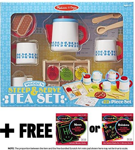 Steep Serve Tea Set Wooden Play Food Set Free Melissa Doug Scratch Art Mini Pad Bundle