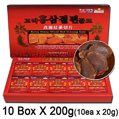 100% Korean Red Ginseng Root Honeyed Slices, 10 Box X 200G(10Ea X 20G), Whole Sales