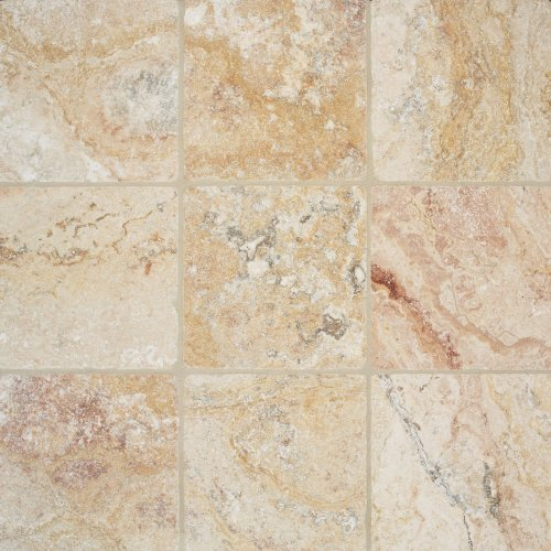 Arizona Tile 6 by 6-Inch Tumbled Travertine Tile, Scabos, 6-Total Square Feet