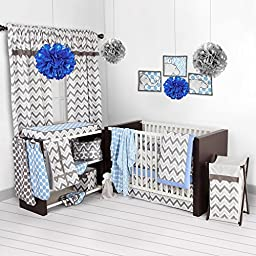 Bacati - Blue/grey Ikat Chevron Muslin 10 Pc Crib Set with Bumper Pad