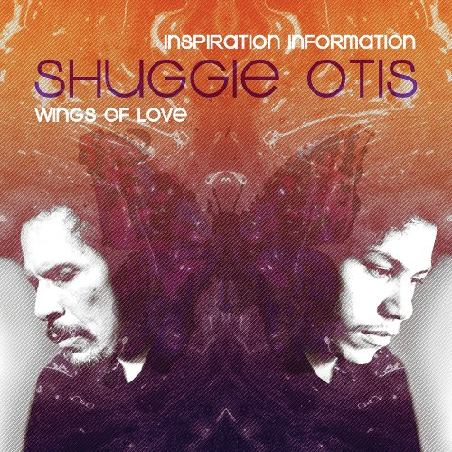 Shuggie Otis, Insipration Information. Older Shuggie facing left, younger Shuggie facing right with a butterfly in the middle.