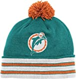 Miami Dolphins Mitchell & Ness NFL Throwback Jersey Stripe Cuffed Knit Hat w/ Pom at Amazon.com