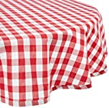 "DII 100% Cotton, Machine Washable, Dinner, Summer & Picnic Tablecloth 70"" Round, Tango Red Check, Seats 4 People"