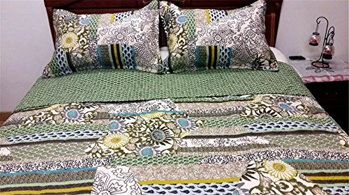 100% Cotton 3-Piece Patchwork Bedspread Bed Country Quilts Sets Fit Queen King