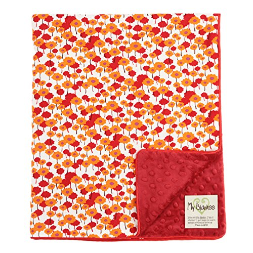 "My Blankee Pick-a-Bunch Organic Cotton Orchid w/ Minky Dot Burgundy Baby Blanket, 30"" X 35"""