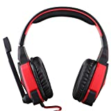 Kotion Each G4000 USB Stereo Gaming Headphone, Over-Ear Headset Headband with Noise Cancelling Microphone, Volume Control, LED Light, for PC Game (Black-Red) (Color: Black-Red)