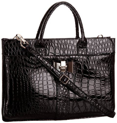Black Patent Finish Croc Effect Shell Body Work Briefcase / Laptop Bag