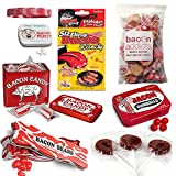 Extreme Bacon Candy Sampler Gift Pack (7pc Set) - Bacon Mints, Jelly Beans, Gumballs, Lollipops, Salt Water Taffy, Sizzling Candy & Hand Candies + Silicone Wristband