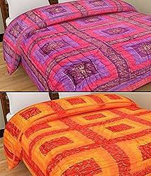 GRJ INDIA Set of 2 Reversible Jaipuri World Famous Light Weight Single Bed Quilt Rajai