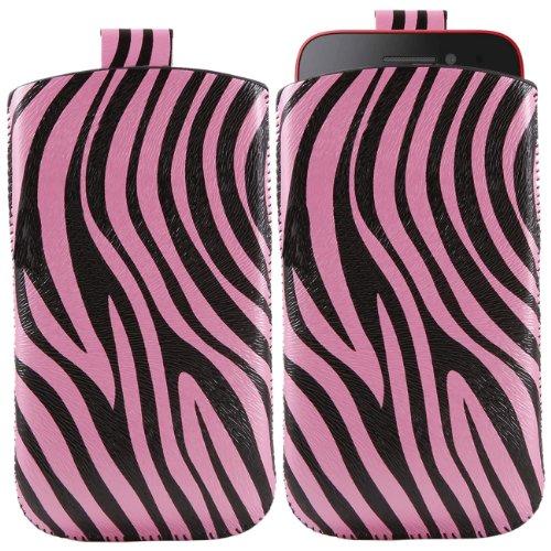iTALKonline Nokia Lumia 610 Rosa Schwarz Qualität PU leder dünner Schlupftasche Schutzhülle Hülle mit Zuglasche