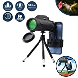 Monocular Telescope,80x100 Zoom Monocular with Bak4 Prism Dual Focus High Power Compact Fully Multi Coated Optical Glass Lens Waterproof Telescope for Hiking Hunting Camping Bird Watching (Color: 80*100 Scope+Phone Mount+SLR Mount)