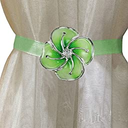 EleCharm 1 Pair Silk Ribbon New Magnetic Flower Curtain Holdback Curtain Holder Drapery Tieback (Green)