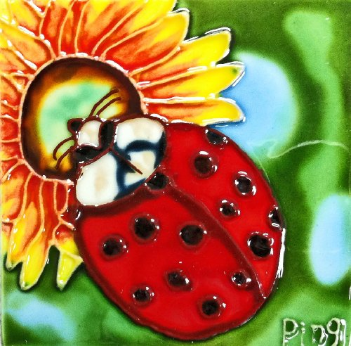 Continental Art Center SD-051 4 by 4-Inch Ladybug Ceramic Art Tile