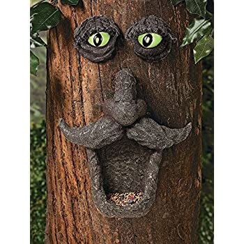 SUN-E Tree Face Wild Bird Feeder Garden Yard Decor Outdoor Tree Hugger Sculpture Whimsical Tree Face Garden Decoration