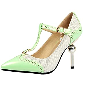 ENMAYER Women's Green Buckled Up Pointed Toe High Heeled Pumps For Party 10B(M) US