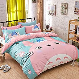 CdyBox Cartoon Pattern Design Kids Boys Girls Bedding Sets 4 Pieces Duvet Covers with Fitted Sheet Pillow Shams (King, #01 Totoro)