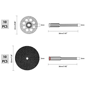 Cutting Wheels Compatible Dremel Rotary Tool Diamond Cutting Wheels and Resin Cutting Off Wheels With Mandrels, Hss Circular Saw Blades With 1/8 Shank for Wood Metal DIY Craft (32 PCS)