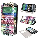 TUTUWEN View Window Painting Art Tribal Style Design PU Leather Flip Stand Case Cover for HTC One M8 HTC One M8 CDMA