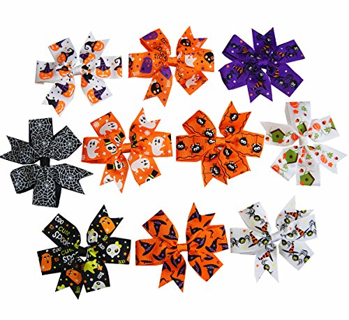 [Big Elephant Women Toddlers Kids Baby Girls Happy Halloween Alligator Clip Hair Bows Clips HHB] (Halloween Accessories)