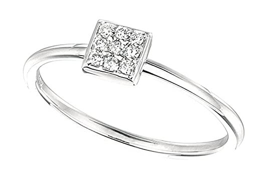 0.08 carat Round brilliant diamonds square shape wedding band ring white gold 14