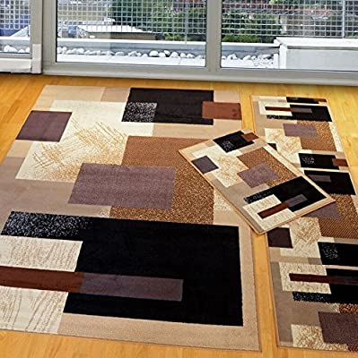 Furnishmyplace 3 Pieces Modern Contemporary Geometric Area Rug, Soho Brown