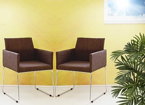 2er Set Konferenzsessel Armlehnstuhl Stoffbezug in coffee braun meliert