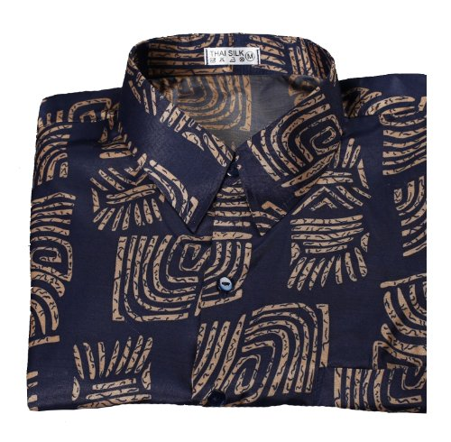 Black Pattern Sleeves Hawaiian Shirt Mens Thai Silk Shirt Short Sleeved