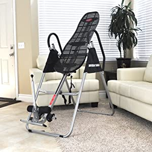 Emer Deluxe Foldable Contoured Gravity Inversion Table for Back Therapy Exercise Fitness INVR-09
