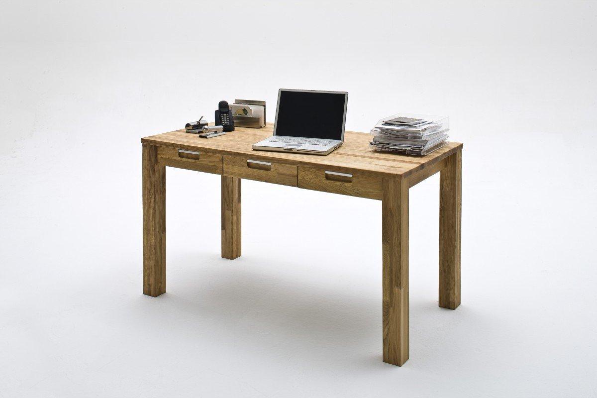 Dreams4Home Schreibtisch 'Florenz' Holz massiv Tisch Computertisch, Büro, Arbeitszimmer, Kinderzimmer, Asteiche, Kernbuche geölt, Breite 135 cm, 3 Schubladen, Farbe:Asteiche