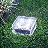 Large White LED Solar Powered Garden Glass Path Light by Lights4funby Lights4fun