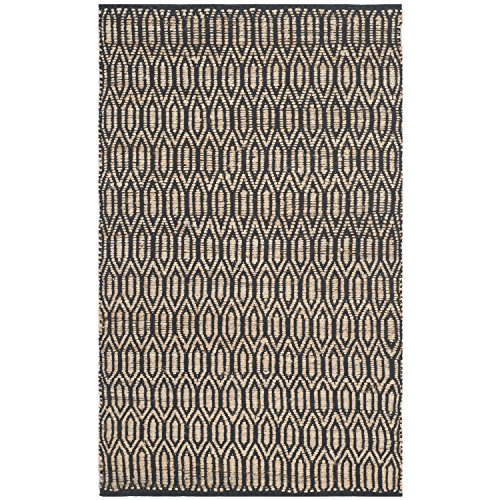 Safavieh Cape Cod Collection CAP822A Hand Woven Black and Natural Cotton Area Rug, 4 feet by 6 feet (4' x 6')