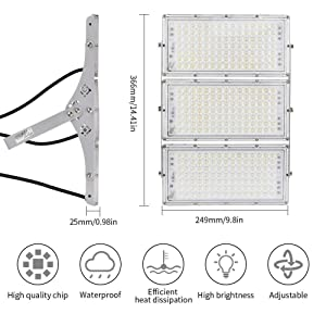 Viugreum 300W LED Flood Light, 24000LM 6000K Daylight White, Slim Outdoor Floodlight, IP65 Waterproof Security Lights, Landscape Wall Lights for Garage, Garden, Lawn, Yard, Playground (Tamaño: 300W cold white)