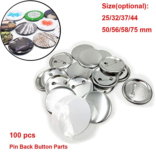 100 Sets Pin Back Button Parts for Badge Maker Machine Button Made DIY Crafts and Children's Craft Activities (56mm) (Tamaño: 56mm)